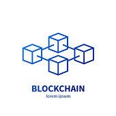 Blockchain technology vector illustration on a white background