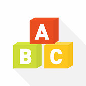 ABC blocks flat icon for education with light shadow . Vector illustration