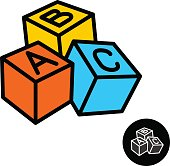 ABC blocks with letters vector sign. Color 3D cubes icon. Children education toys symbol.