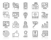 Blogging Online thin line icons set. Outline web sign kit of app blog. Website Post linear icon video camera, diploma, browser page Simple blogging online contour symbol reflection vector Illustration