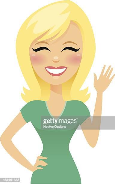 Blonden Frau Lächeln und Winken