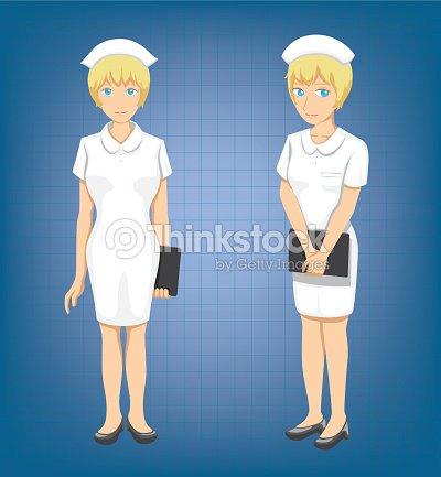 blonde nurse full body poses cartoon vector illustration vector art