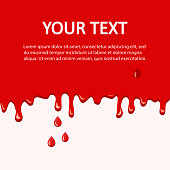 Blood background with place for your text. Dripping blood and drops, flow down. Vector illustration