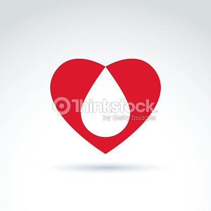 Blood Donation Symbol With Heart And Blood Drop Vector Icon Vector
