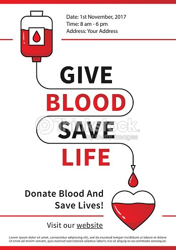 blood donation vector illustration with red heart and drop counter
