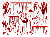 Blood drip. Red paint splash, halloween bloody splatter spots and bleeding hand traces. Dripping bloods mess horror murder crime texture, blood paint holiday decoration vector isolated icon set