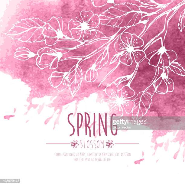 Blossoming Spring Branch. Vector illustration