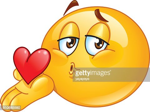 Blowing kiss male emoticon : Vector Art