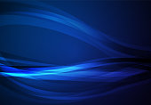 Blue abstract line and wavy vector background