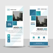 Blue Abstract square Business Roll Up Banner flat design template ,Abstract Geometric banner template Vector illustration set, abstract presentation template