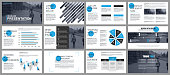 Blue and black business presentation slides templates from infographic elements. Can be used for presentation, flyer and leaflet, brochure, marketing, advertising, annual report, banner, booklet.