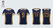 Blue and gold  t-shirt sport design template for soccer jersey, football kit and tank top for basketball jersey. Sport uniform in front view and back view. T-shirt mock up for sport club. Vector Illus