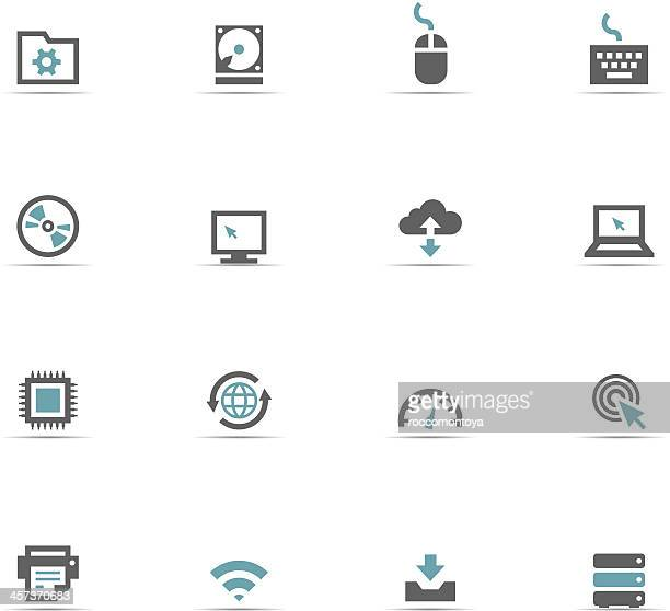 Blue and gray set of Internet icons