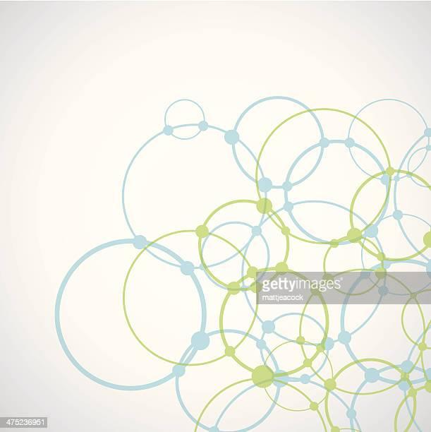 Blaue und Grüne complex circle design auf weißem Hintergrund.