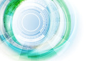 Blue and green futuristic technology abstract gear background. Vector illustration template