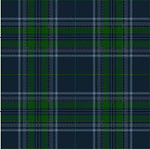Blue, green and black traditional tartan plaid seamless pattern background.