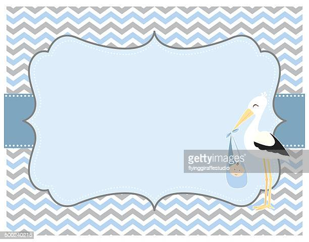 Blue and Grey Chevron Baby Boy Card with Stork