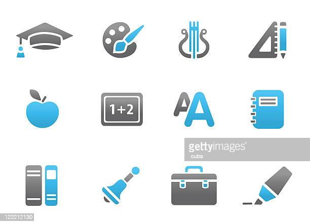 Blue and grey education related icons