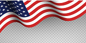 Blue and red fabric USA flag on transparent background. Greeting banner template for Flag day June 14th, Independence Day of America July 4th, Memorial Day. Vector illustration.