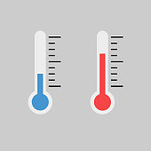 Blue and red flat thermometer indicators illustration