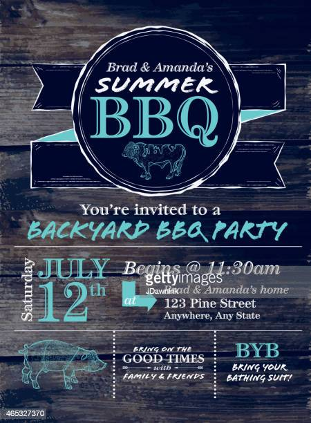 Blue and white country BBQ design template on wood background
