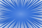 Blue and white radial lines comics style backround. Manga action, speed abstract. Vector illustration