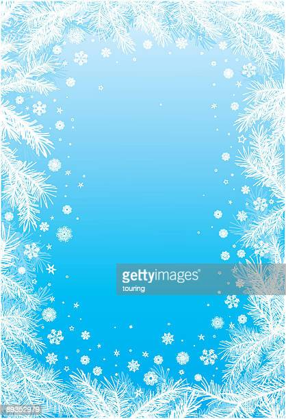 Blue and white snowflake frame
