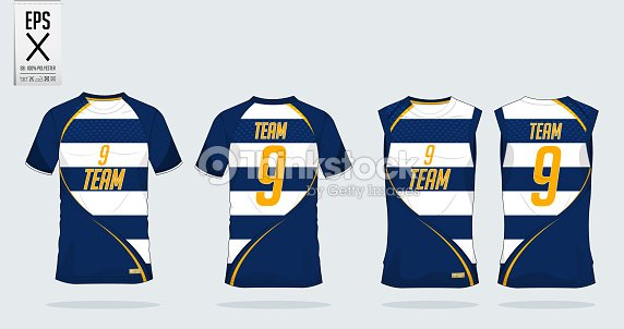 97027f56 Blue and White Stripe T-shirt sport template design for soccer jersey, football  kit