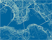 Blue and White vector city map of Hong Kong with well organized separated layers.