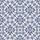 Vector arabesque pattern. Seamless flourish background with dark blue floral elements. Intricate ornate lines. Arabic decorative design. Square tile. Symmetrical ornament. Oriental illustration.