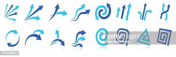 Blue Arrow design elements vector icon collection