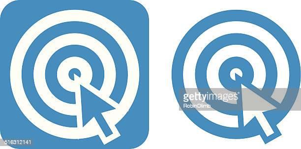 Blue Arrow On Target Icon.