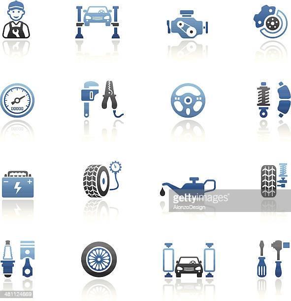 Auto servicio conjunto de iconos azules