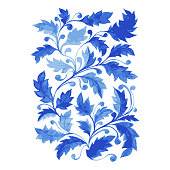 Traditional Blue Portugal Azulejo Poster, Vertical Vector Ornamental Artwork with Watercolor Leaves, Curls and Foliage.