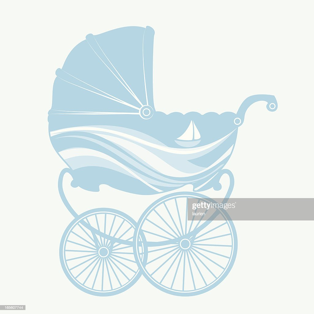 Blue Baby Buggy Vector Art | Getty Images