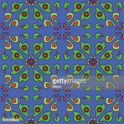 Blue background simple floral seamless pattern : Vector Art