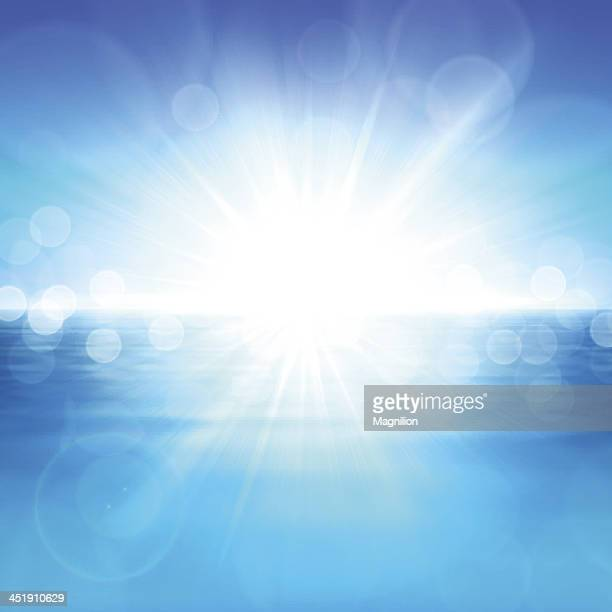 A blue background with a bright white light