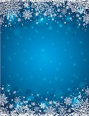 Blue background with  frame of snowflakes and stars,  vector illustration