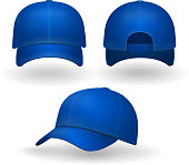 Blue baseball cap set front side view isolated on white background.