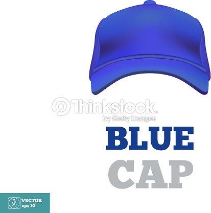 ブルーのベースボールキャップテンプレート フロントの眺めをご覧