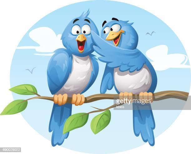 Blue Birds Gossiping