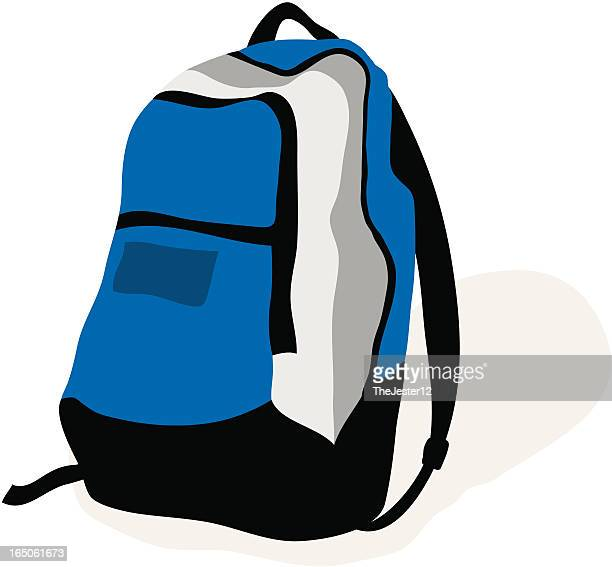 A blue, black and white backpack on a white background