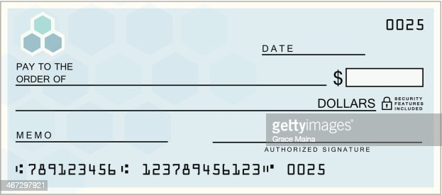 Blue Blank Check Vector Art – Blank Cheque Template