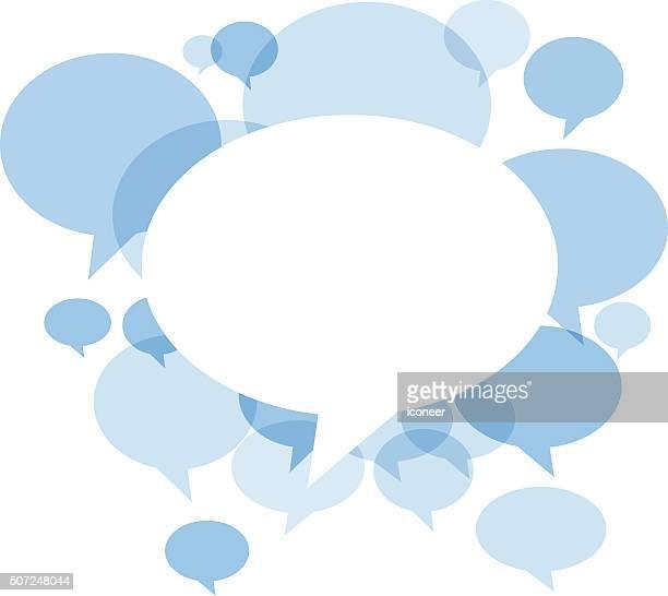 Chat bolle blu su sfondo bianco