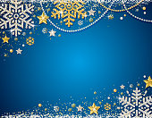 Blue christmas background with frame of golden and silver glittering snowflakes, stars and garlands, vector illustration