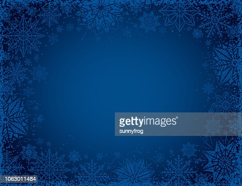 Blue christmas background with frame of snowflakes and stars, vector illustration : Arte vettoriale