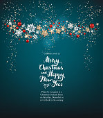 Shine blue background with snowflakes, stars and balls. Winter holiday Christmas design for banners, advertising, leaflet, cards, greeting, invitation and so on.