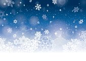 Vector illustration of abstract snow background in blue and white with lots of snowflakes, stars and blurred circles falling on the entire image.Аt the bottom of the design has large snowflakes and wh