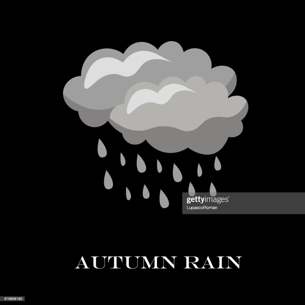Blue Cloud Rain icon isolated background. Modern simple cartoon : Vector Art
