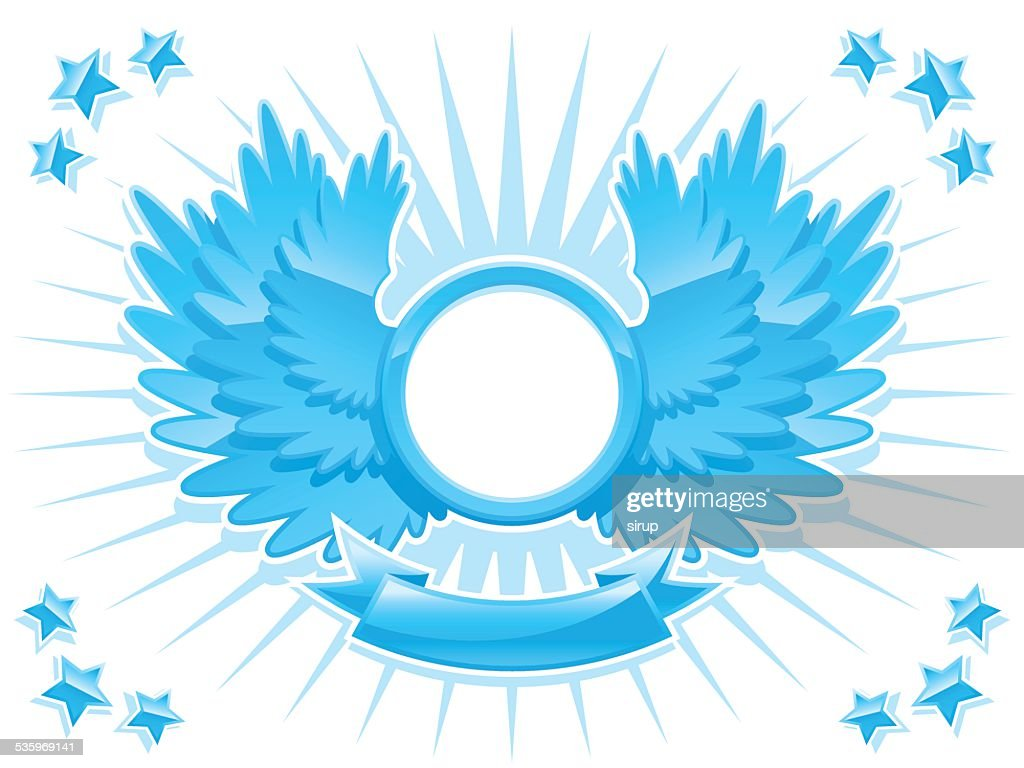 blue coat of arms with wings and banner : Vector Art